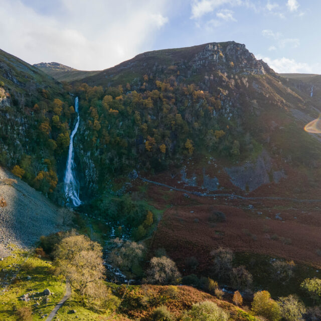 Aber Falls aerial photography