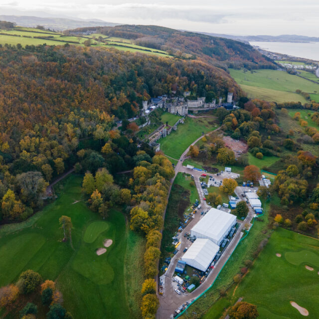 Gwyrch Castle I'm a Celebrity build update from drone